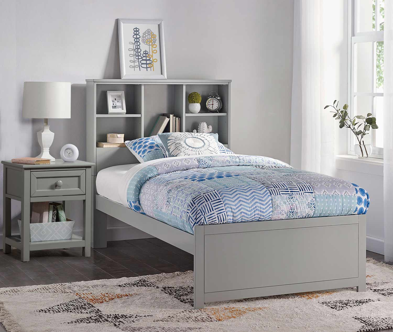 Hillsdale Caspian Twin Bookcase Bed with Nightstand - Gray