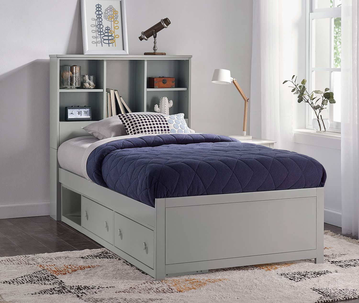 Hillsdale Caspian Twin Bookcase Bed with Storage Unit - Gray
