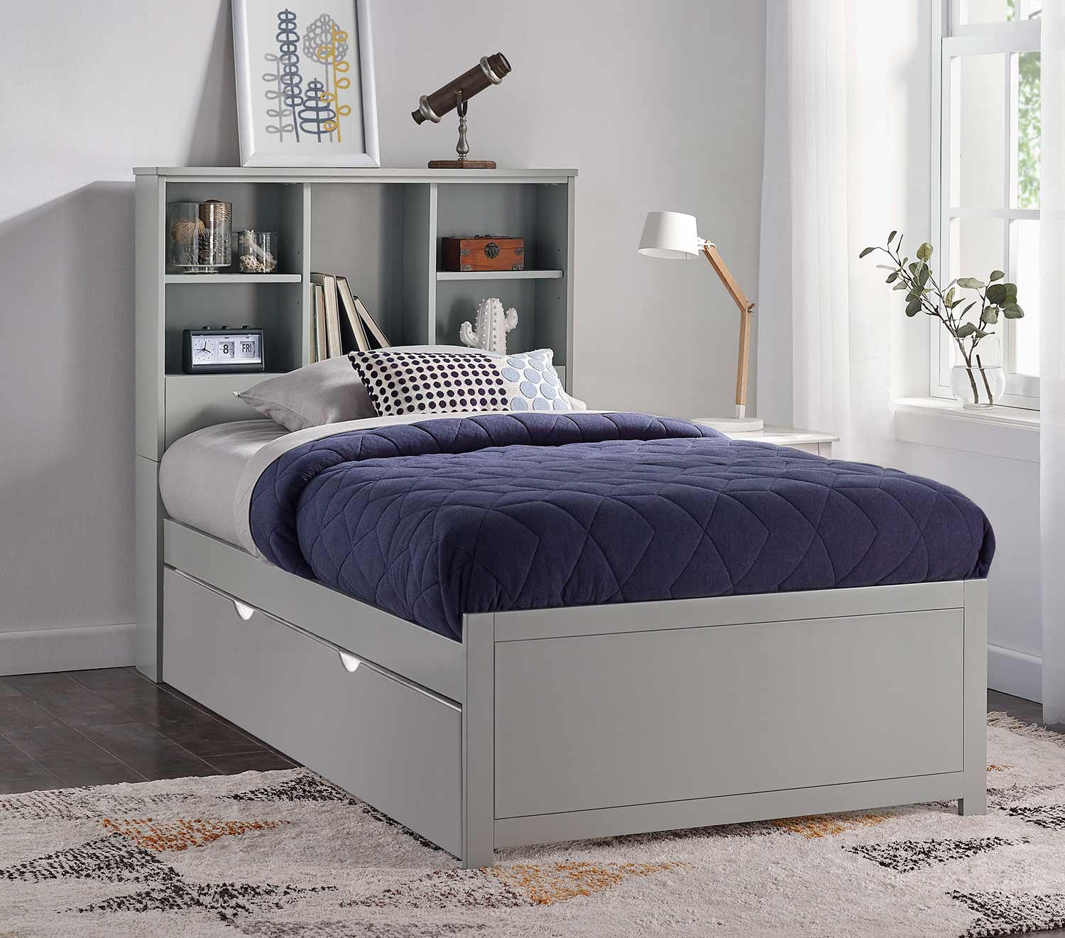 Hillsdale Caspian Twin Bookcase Bed with Trundle Unit - Gray