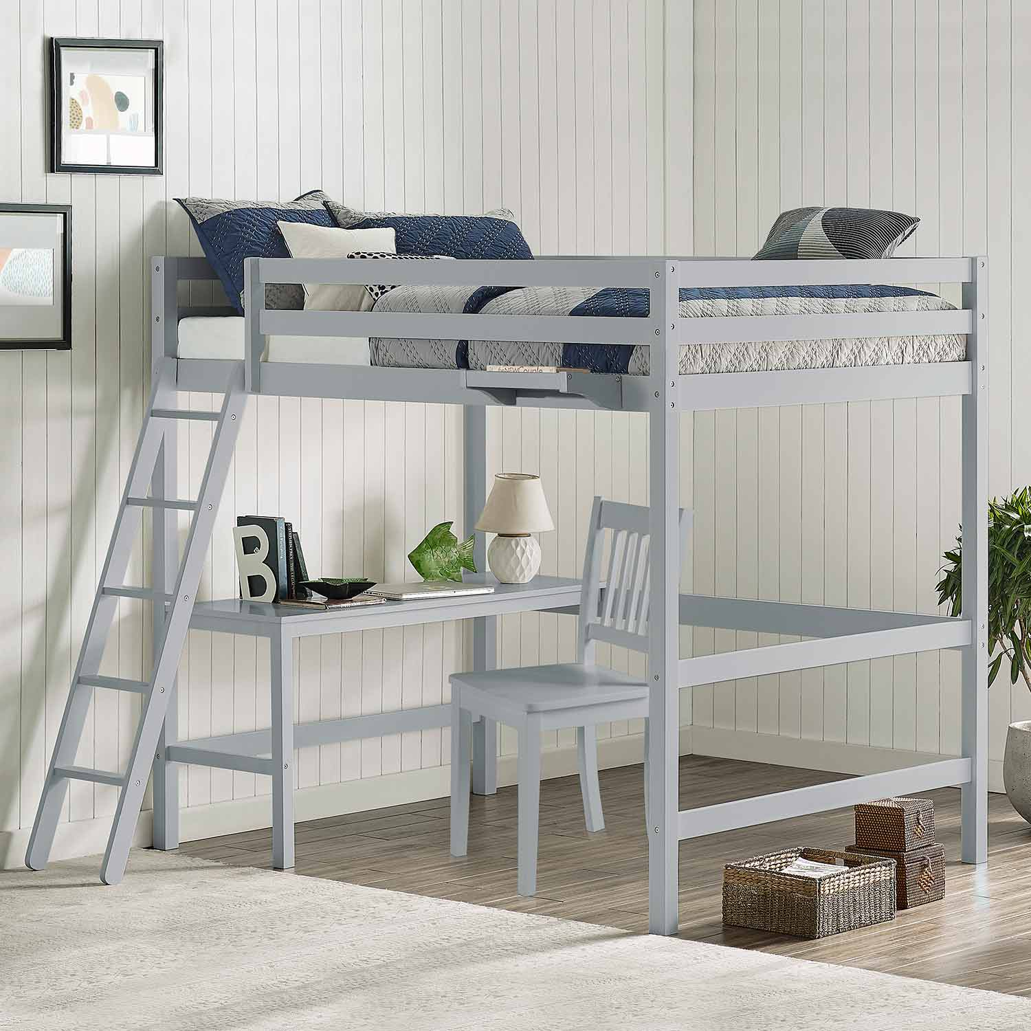 Hillsdale Caspian Full Loft Bed with Chair and Hanging Nightstand - Gray