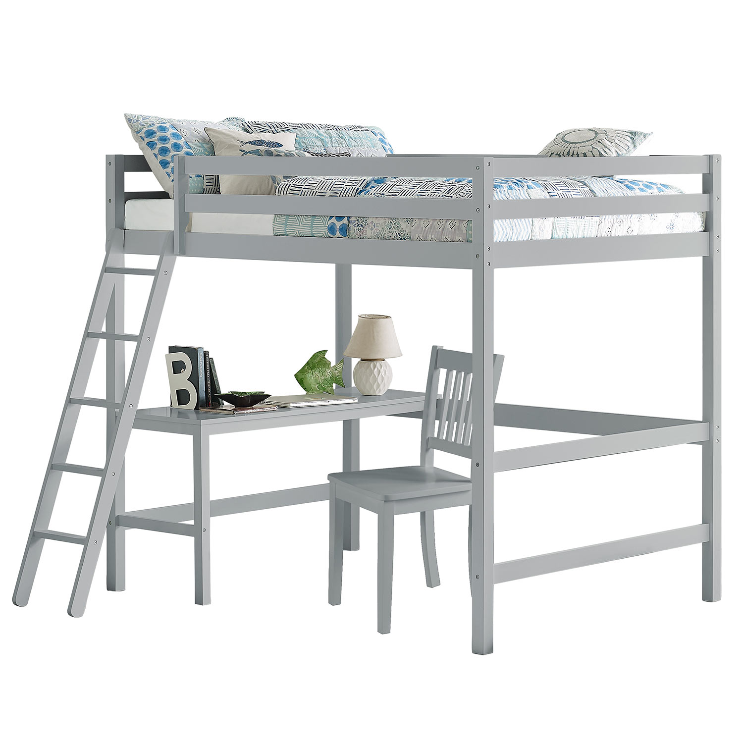Hillsdale Caspian Full Loft Bed with Chair - Gray