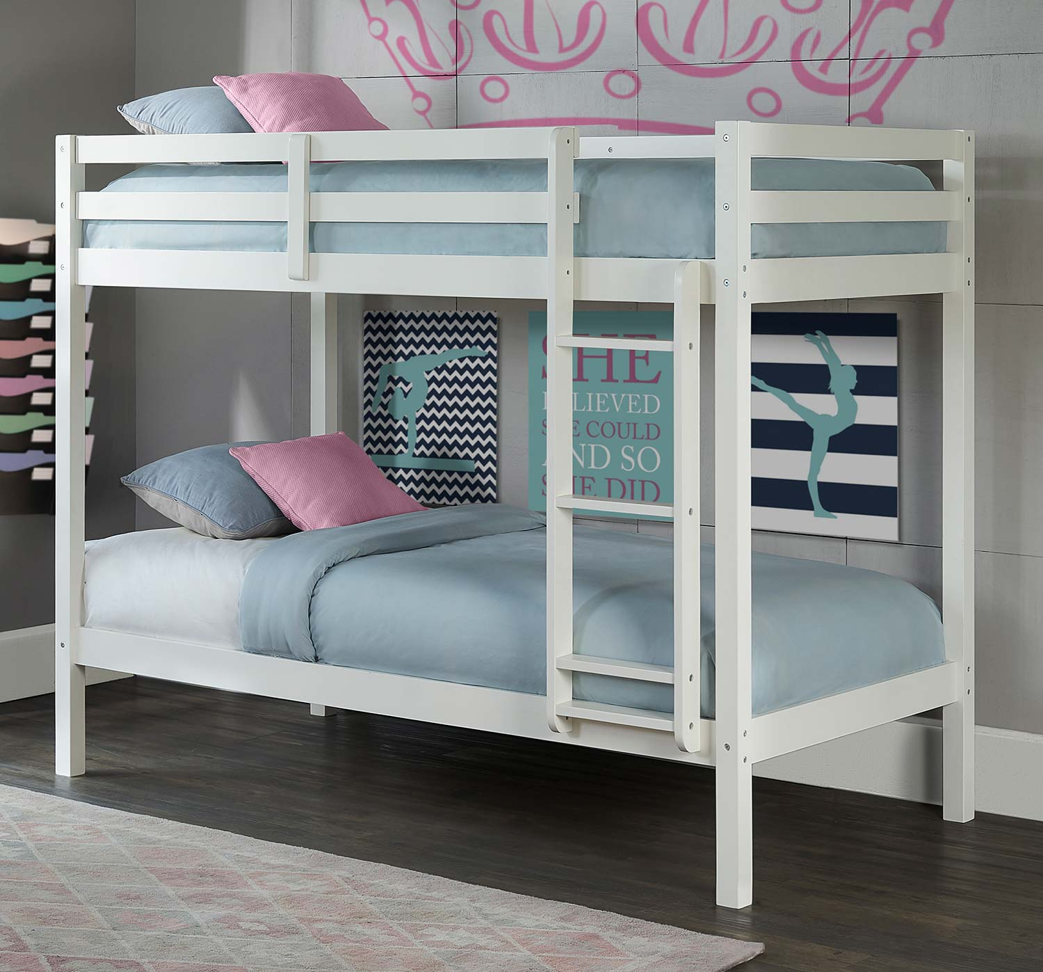 Hillsdale Caspian Twin Over Twin Bunk Bed - White