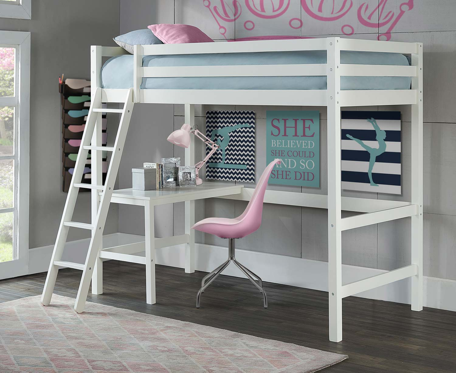 Hillsdale Caspian Twin Study Loft Bed With Chair - White