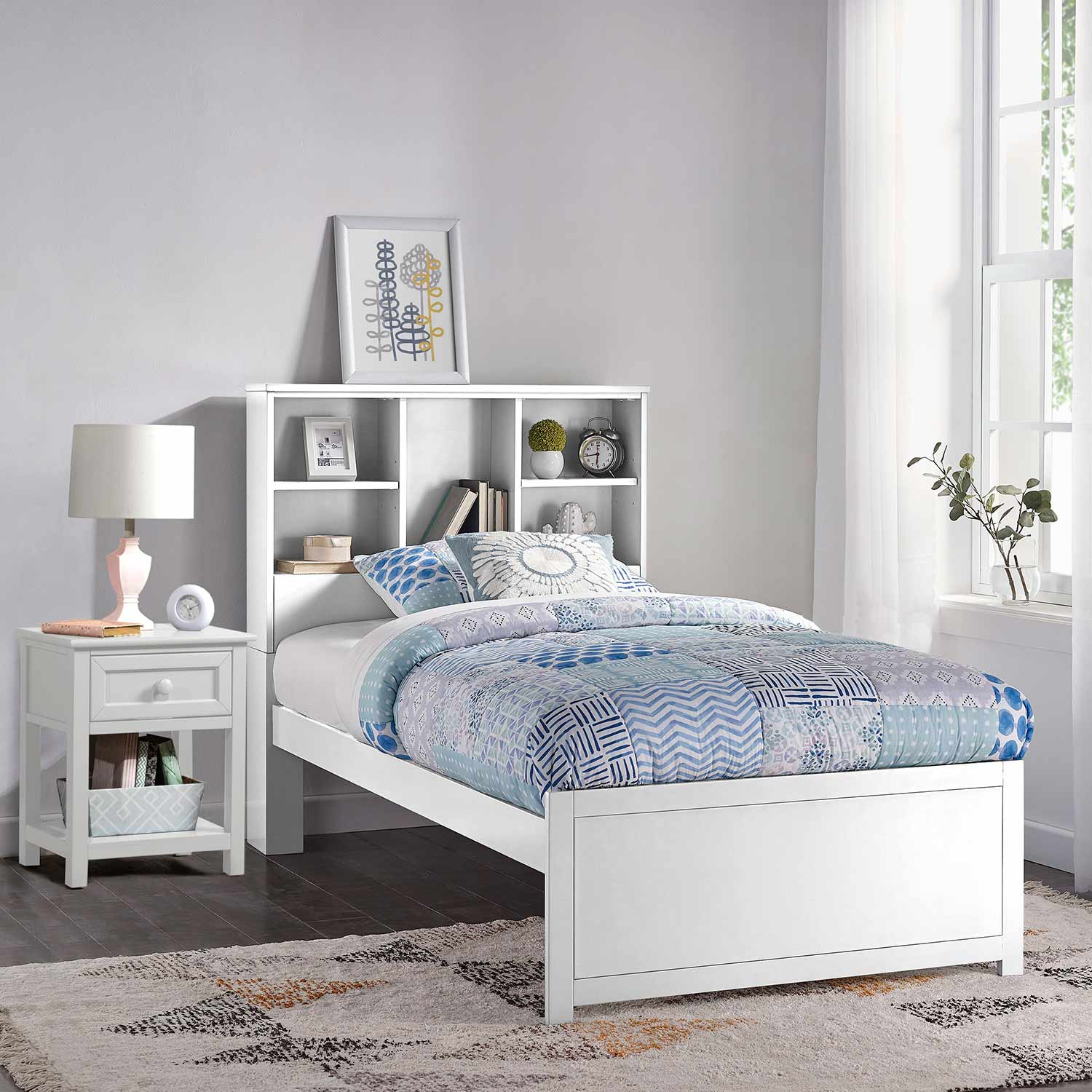 Hillsdale Caspian Twin Bookcase Bed with Nightstand - White