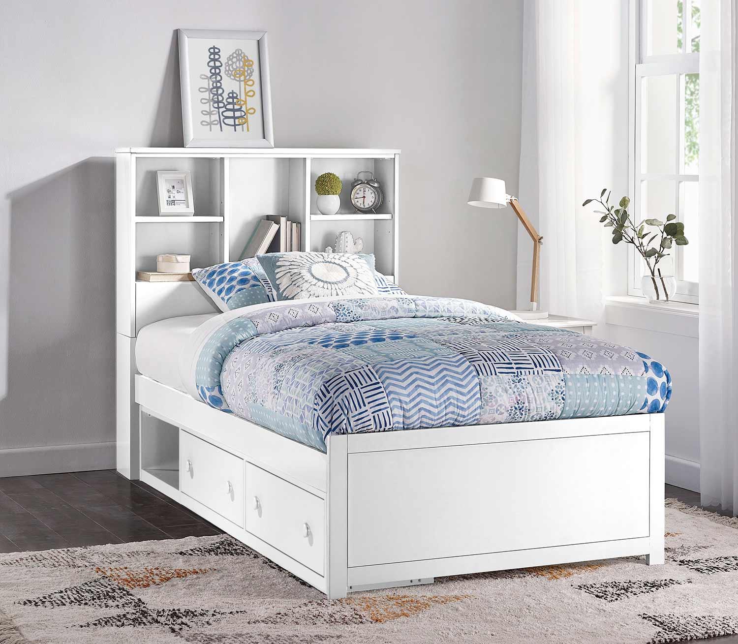 Hillsdale Caspian Twin Bookcase Bed With Storage Unit White