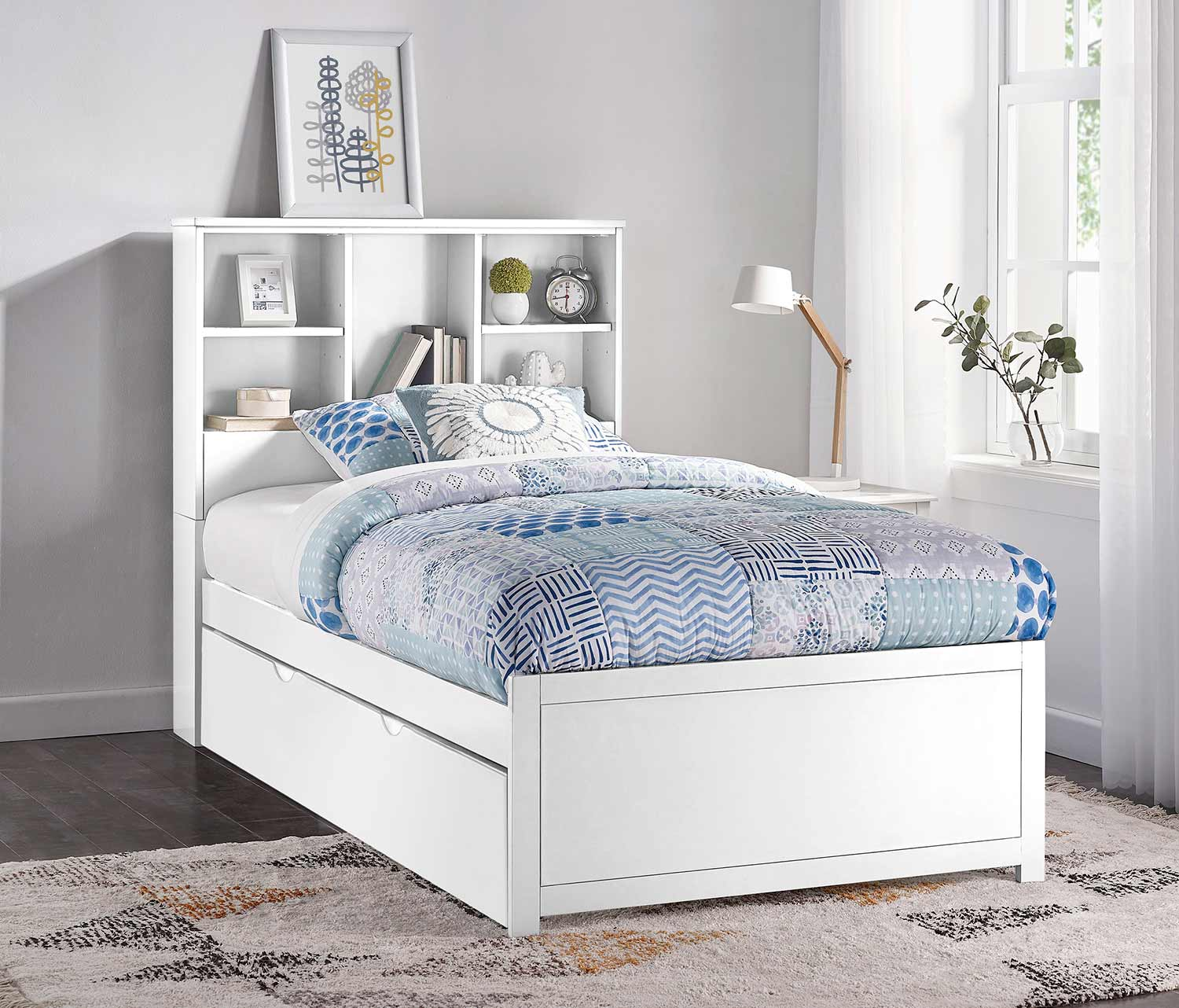 Hillsdale Caspian Twin Bookcase Bed with Trundle Unit - White
