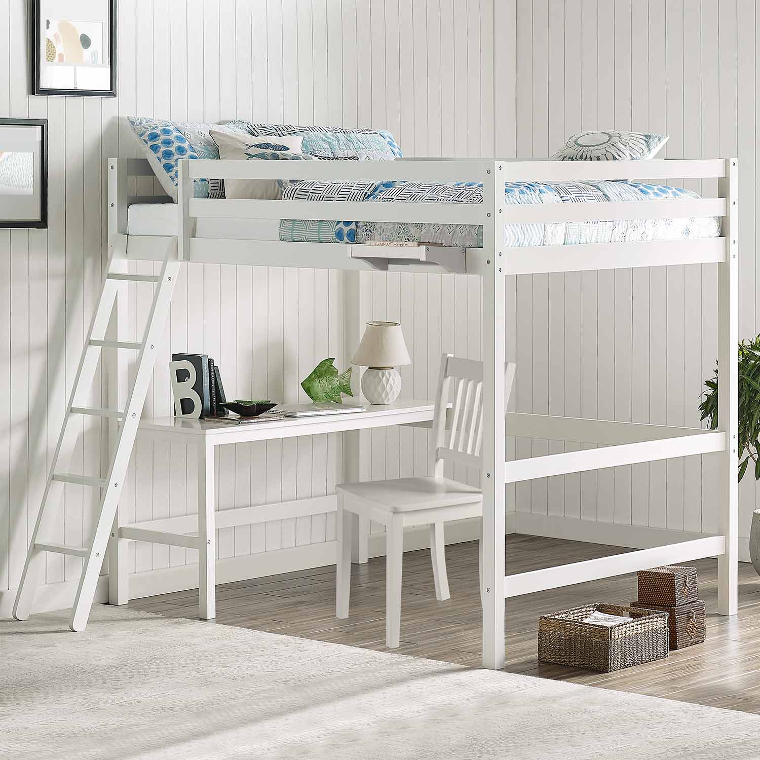 Hillsdale Caspian Full Loft Bed with Chair and Hanging Nightstand - White