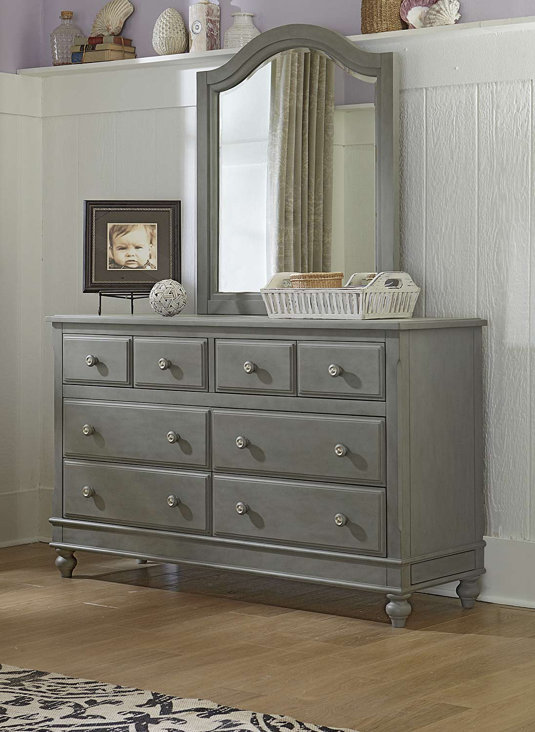 NE Kids Lake House 8 Drawer Dresser with Mirror - Stone