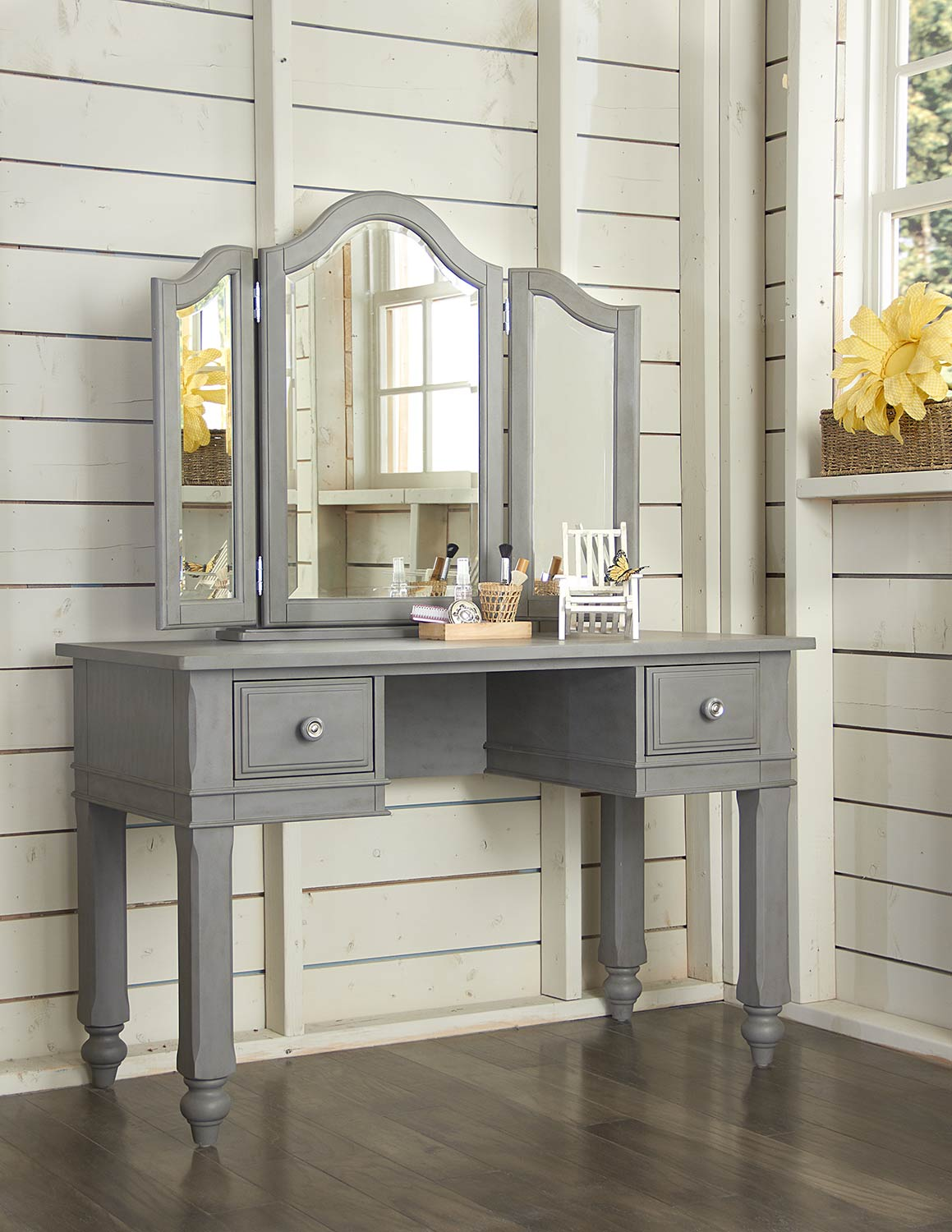 NE Kids Lake House Writing Desk with Vanity Mirror - Stone