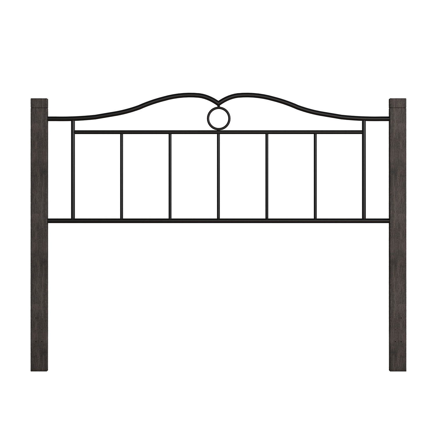 Hillsdale Dumont Metal Headboard with Double Arched Scroll Design - Textured Black/Brushed Charcoal