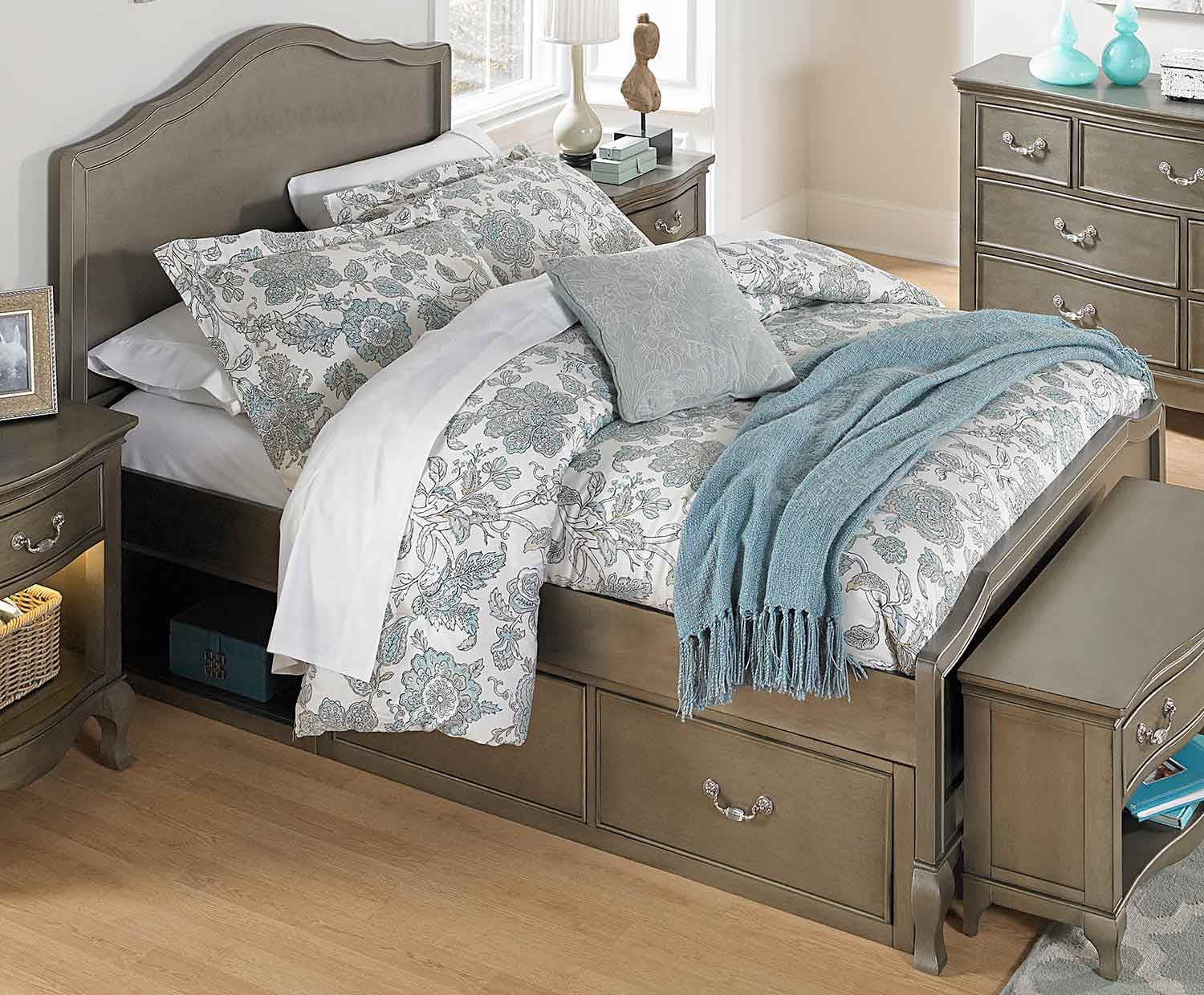 NE Kids Kensington Charlotte Panel Bed With Storage - Antique Silver