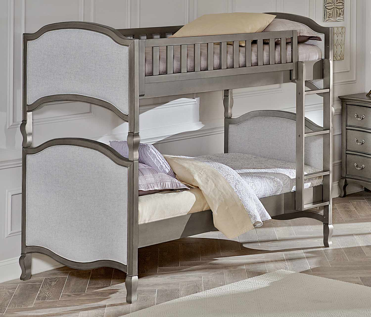 NE Kids Kensington Victoria Twin Over Twin Bunk - Antique Silver