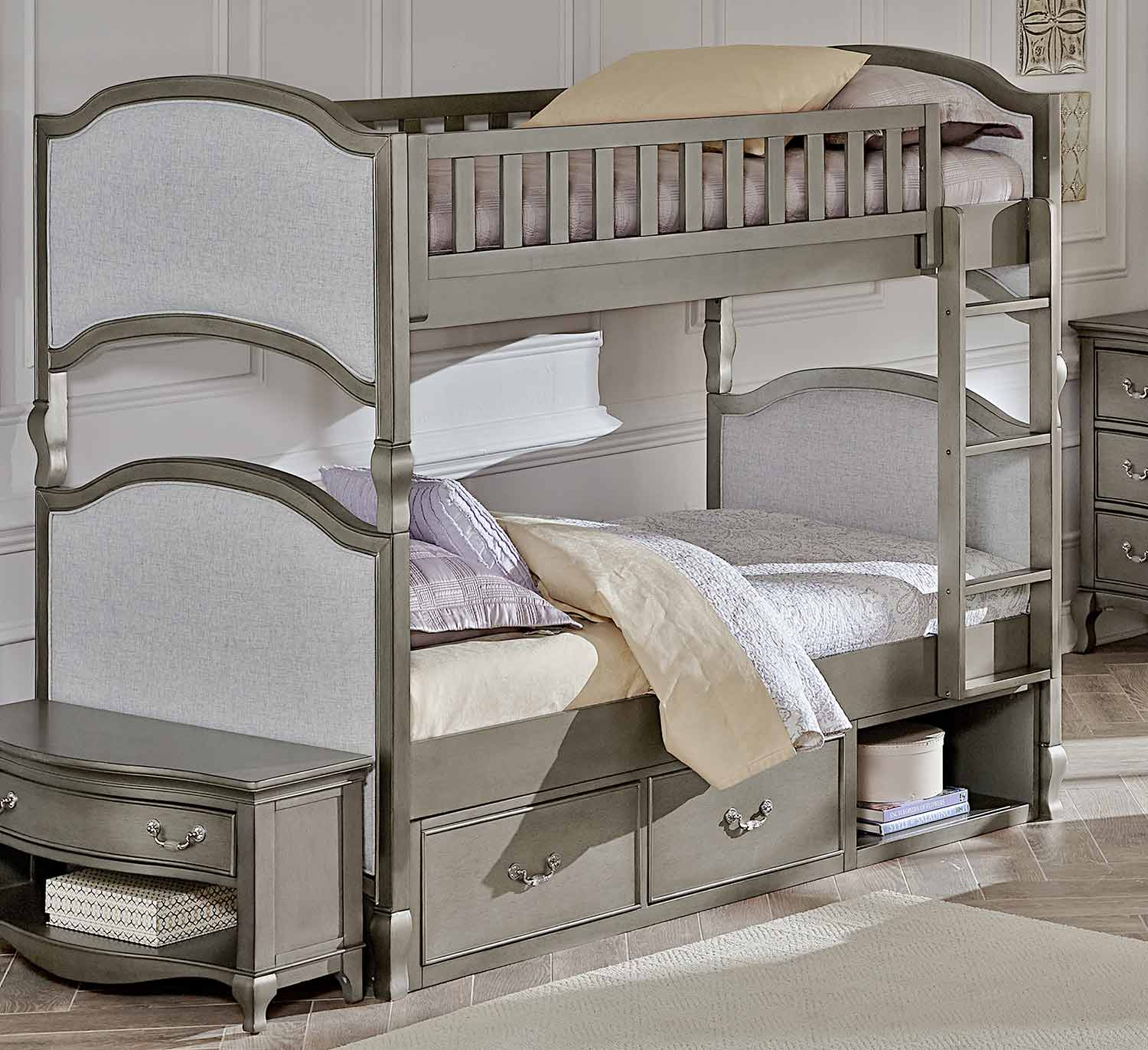 NE Kids Kensington Victoria Twin Over Twin Bunk With Storage - Antique Silver