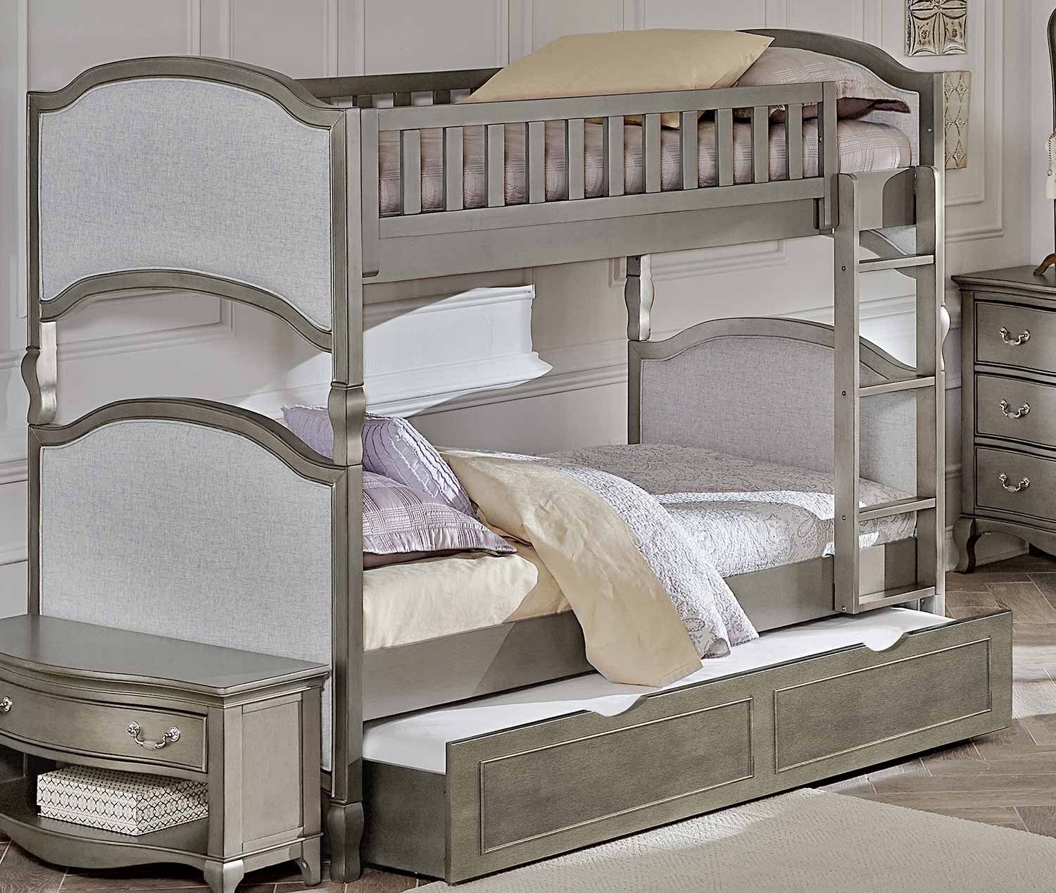 NE Kids Kensington Victoria Twin Over Twin Bunk With Trundle - Antique Silver