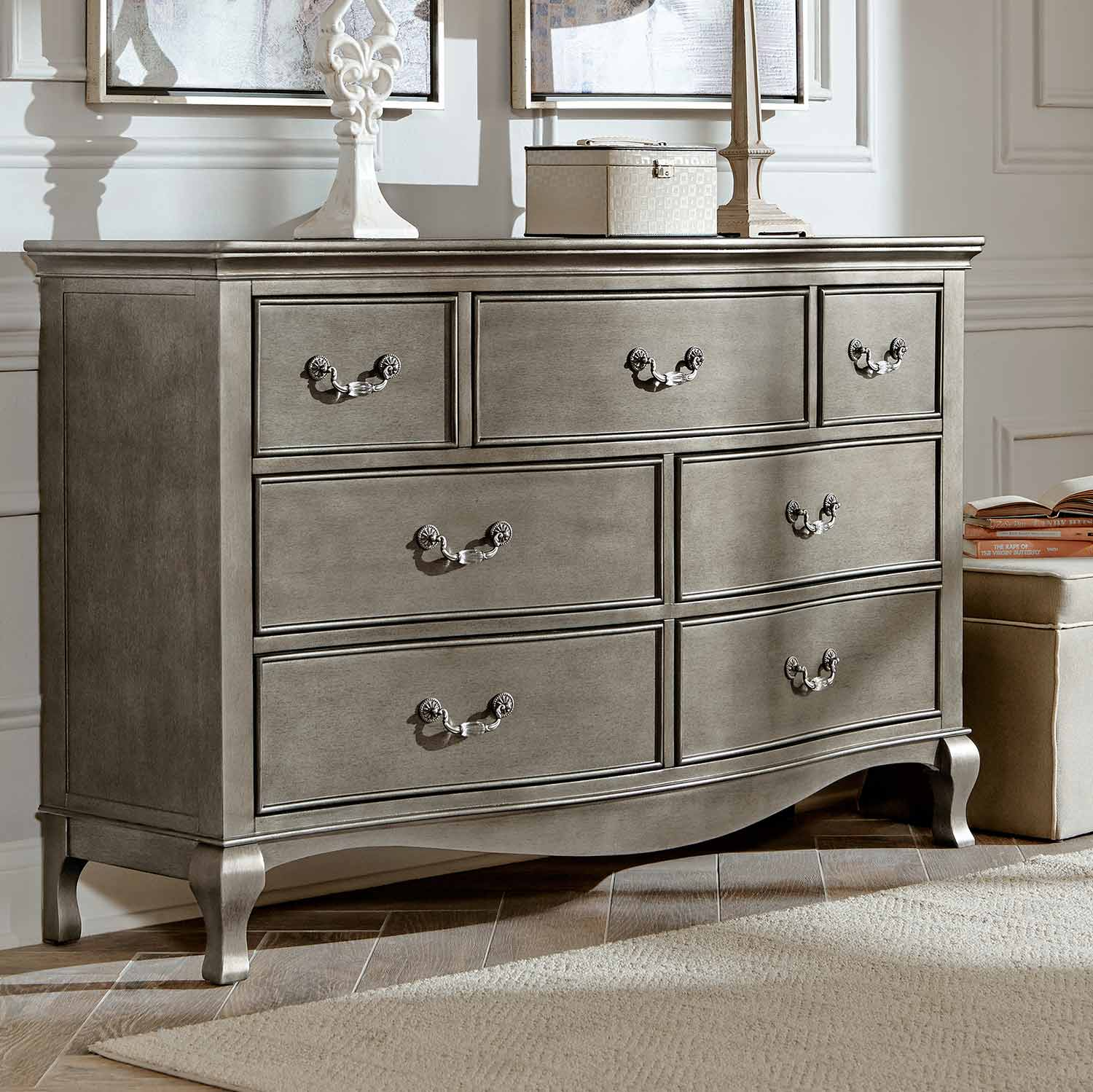 NE Kids Kensington 7 Drawer Double Dresser - Antique Silver