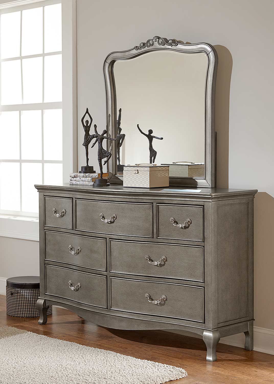 NE Kids Kensington Dresser with Mirror - Antique Silver