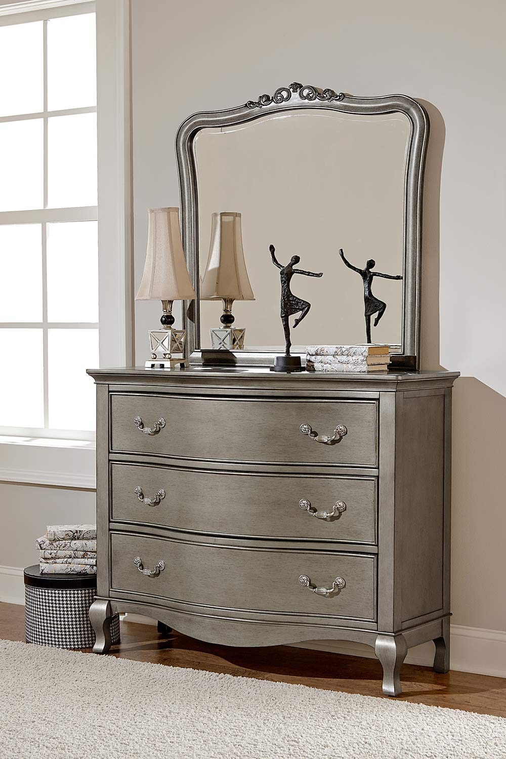 NE Kids Kensington 3 Drawer Single Dresser with Mirror - Antique Silver
