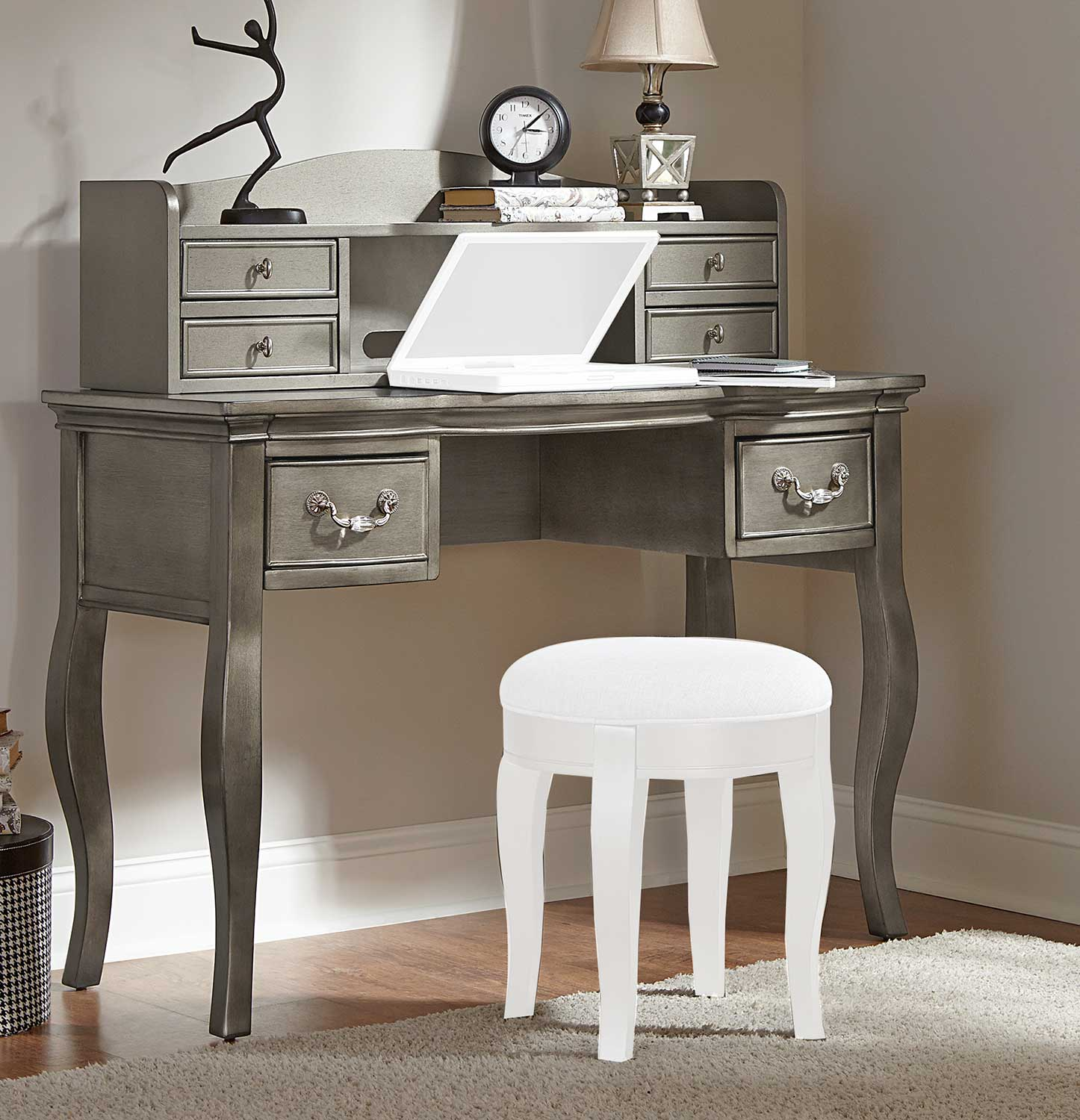 NE Kids Kensington Writing Desk with Hutch - Antique Silver