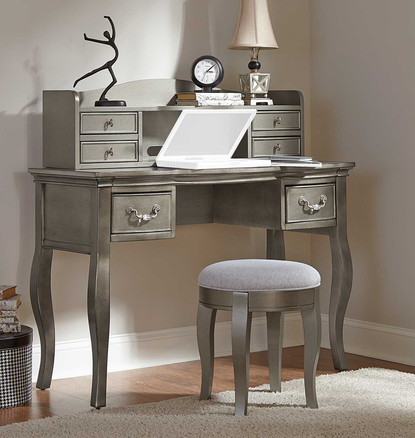 NE Kids Kensington Writing Desk with Hutch and Stool - Antique Silver