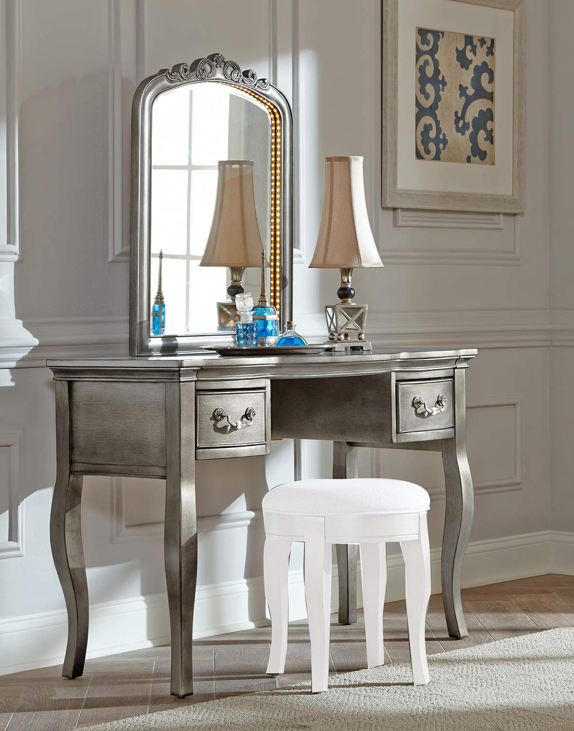 NE Kids Kensington Writing Desk with Vanity Mirror - Antique Silver