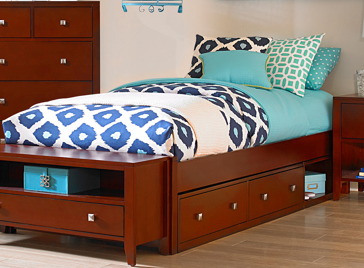 NE Kids Pulse Platform Bed With Storage - Cherry