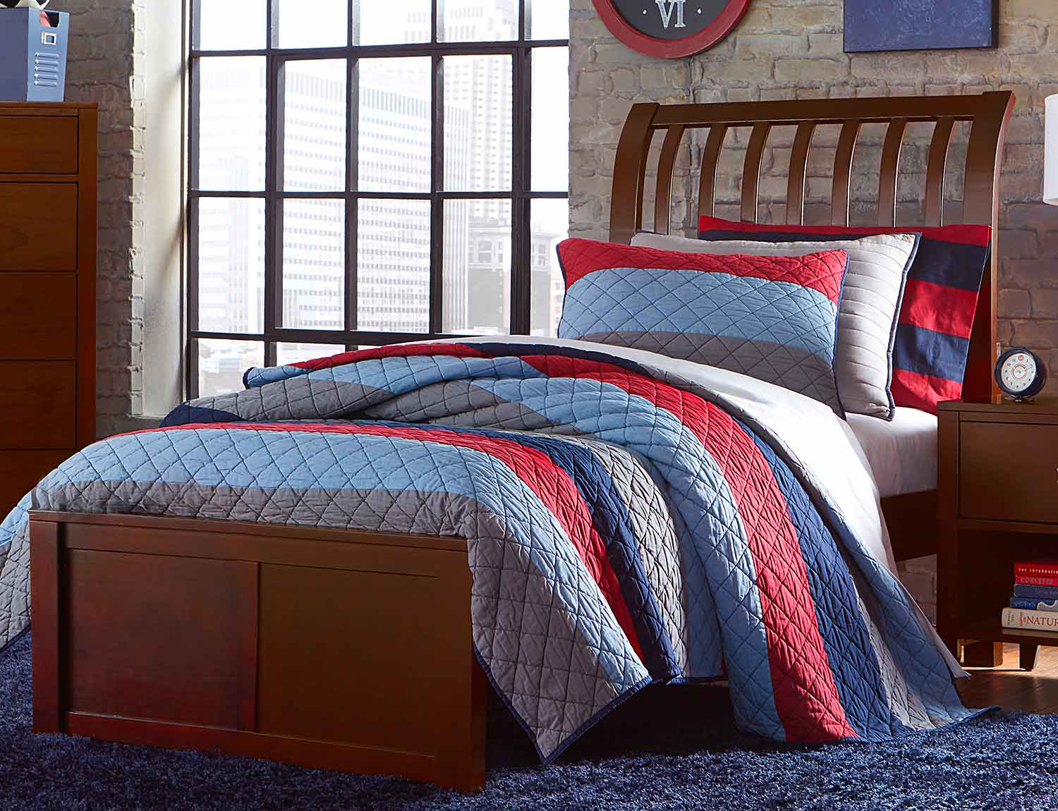 NE Kids Pulse Rake Sleigh Bed - Cherry