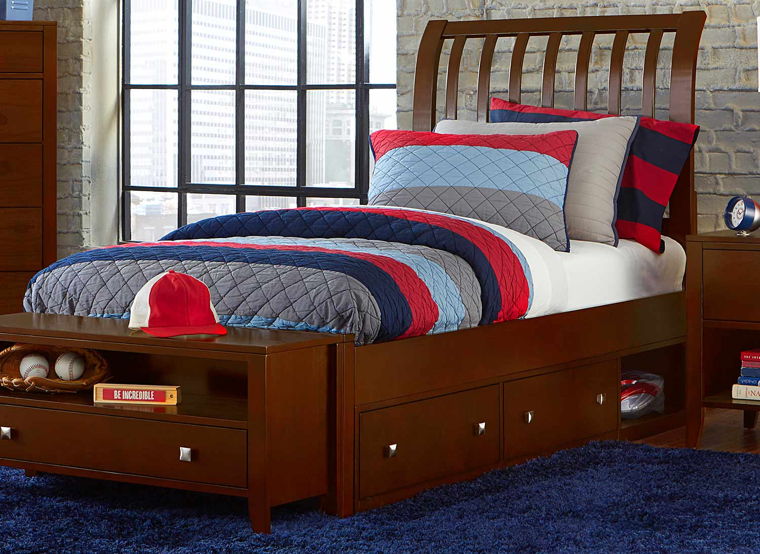 NE Kids Pulse Rake Sleigh Bed With Storage - Cherry