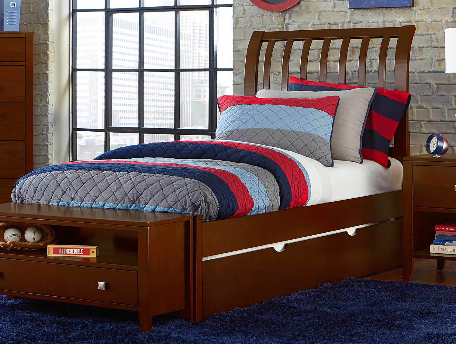 NE Kids Pulse Rake Sleigh Bed With Trundle - Cherry