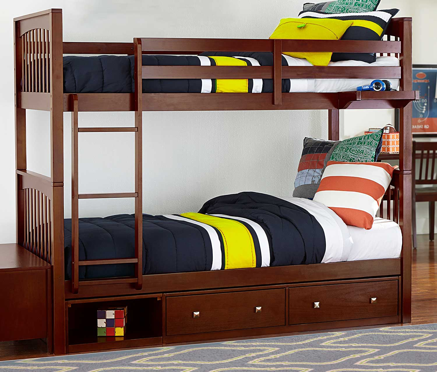 NE Kids Pulse Twin Over Twin Bunk With Storage - Cherry