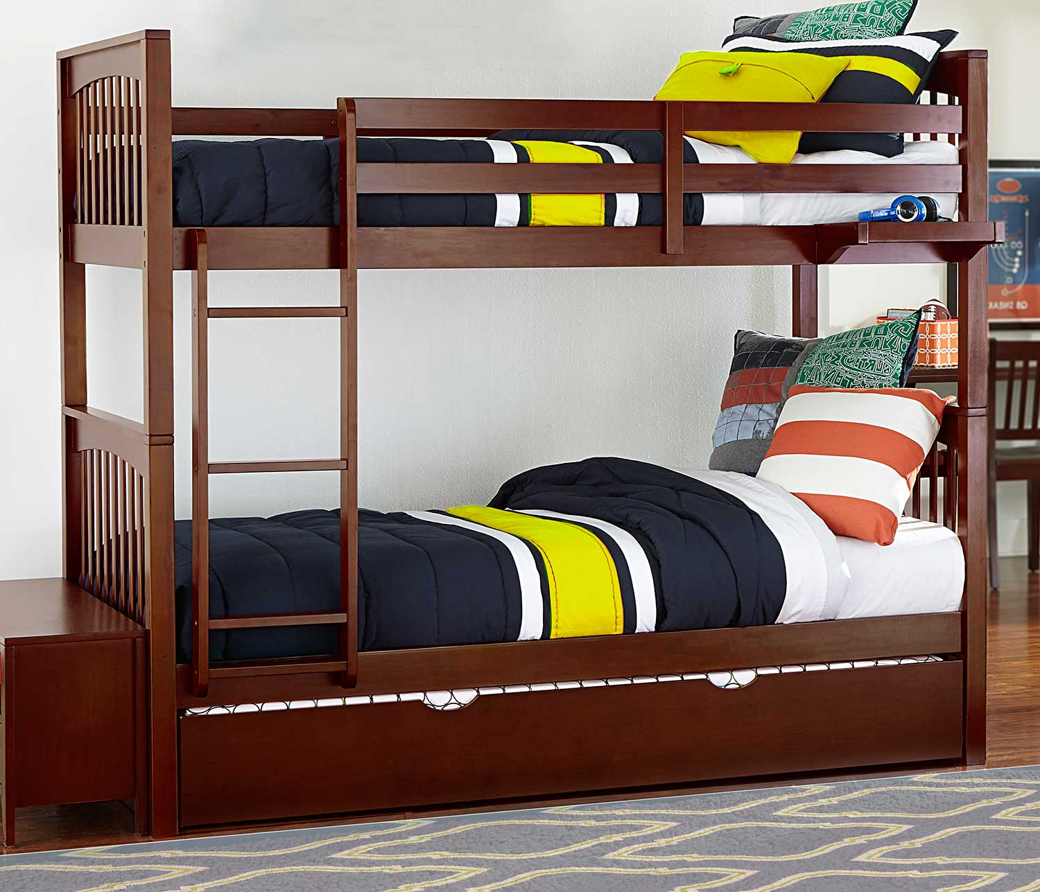 NE Kids Pulse Twin Over Twin Bunk With Trundle - Cherry