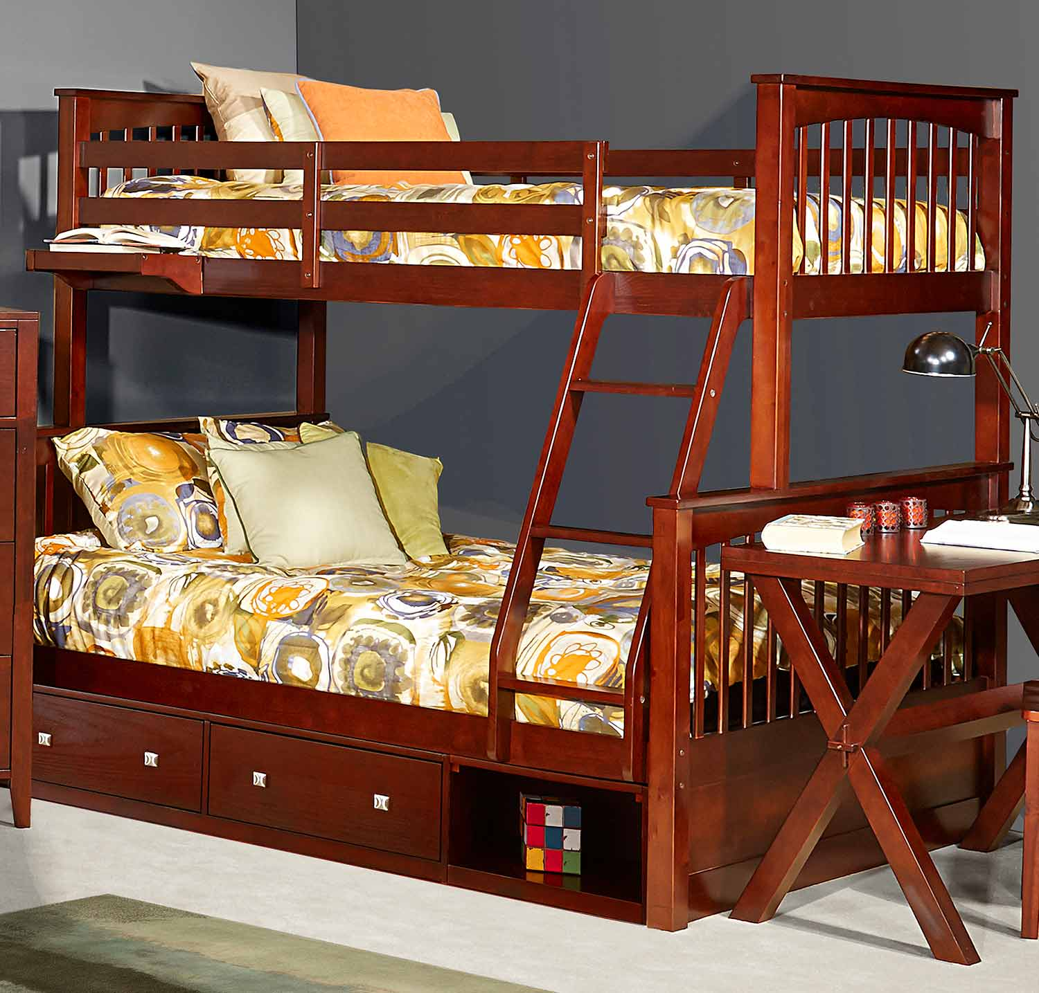 NE Kids Pulse Twin Over Full Bunk With Storage - Cherry