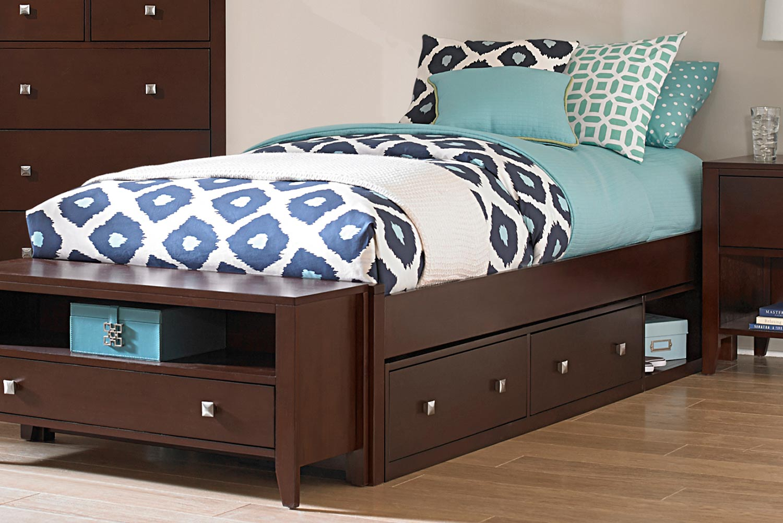 NE Kids Pulse Platform Bed With Storage - Chocolate