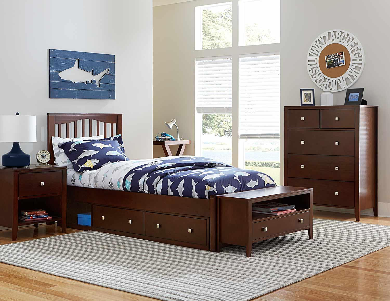 NE Kids Pulse Mission Bedroom Set With Storage - Chocolate