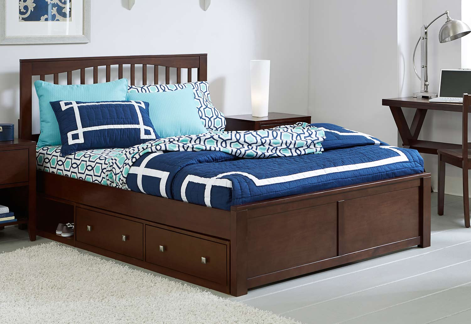 NE Kids Pulse Mission Bed With Storage - Chocolate