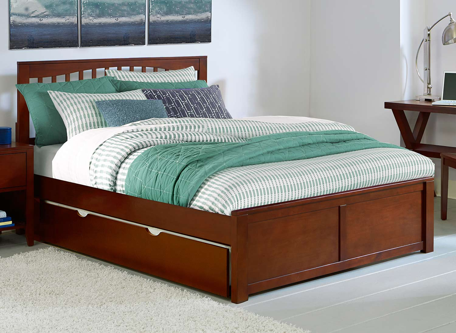 NE Kids Pulse Mission Bed With Trundle - Chocolate