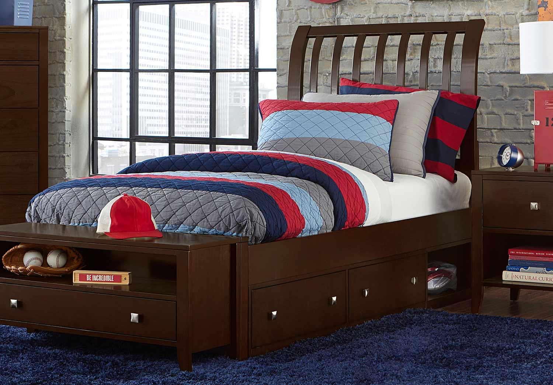 NE Kids Pulse Rake Sleigh Bed With Storage - Chocolate