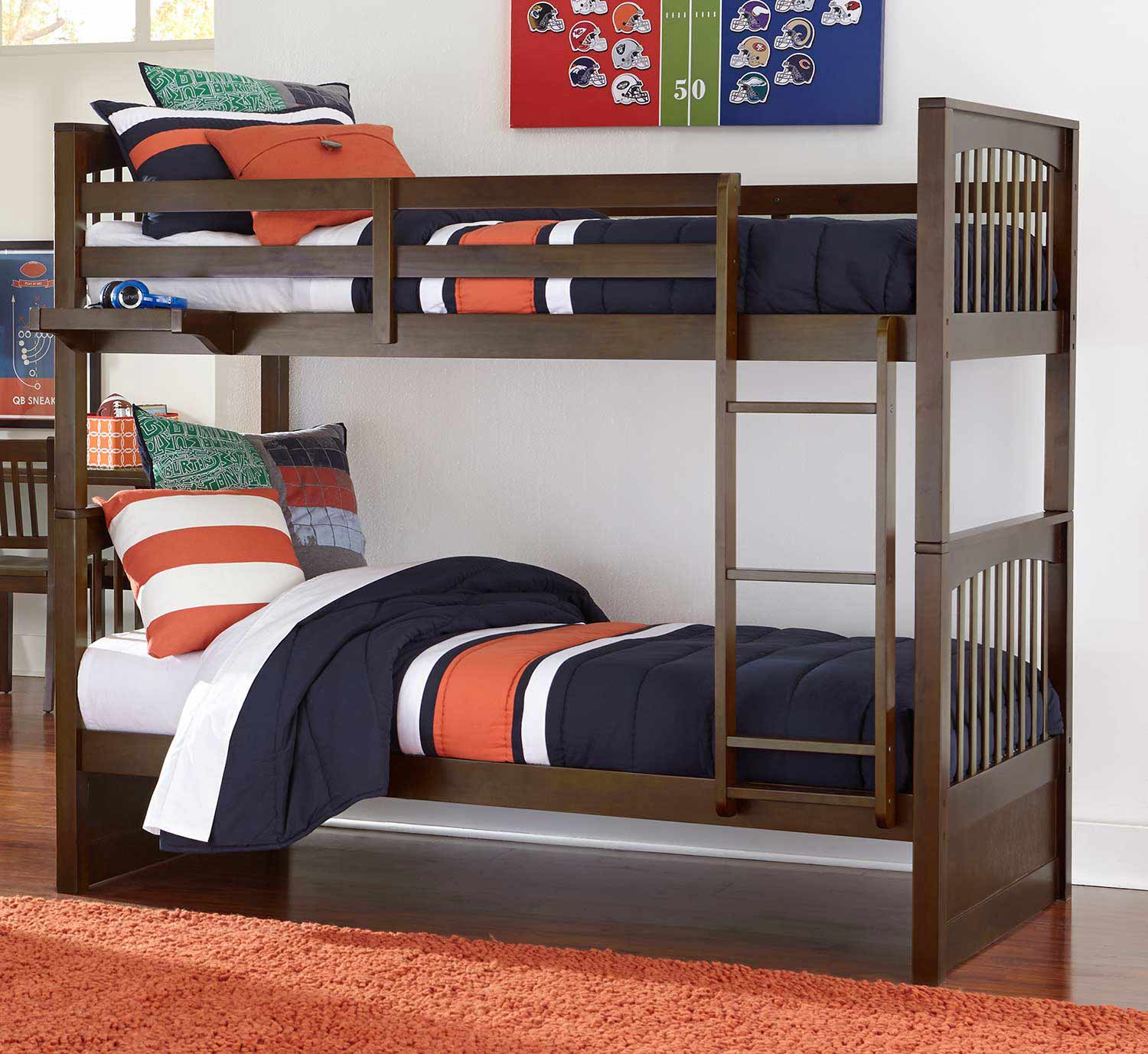 NE Kids Pulse Twin Over Twin Bunk - Chocolate