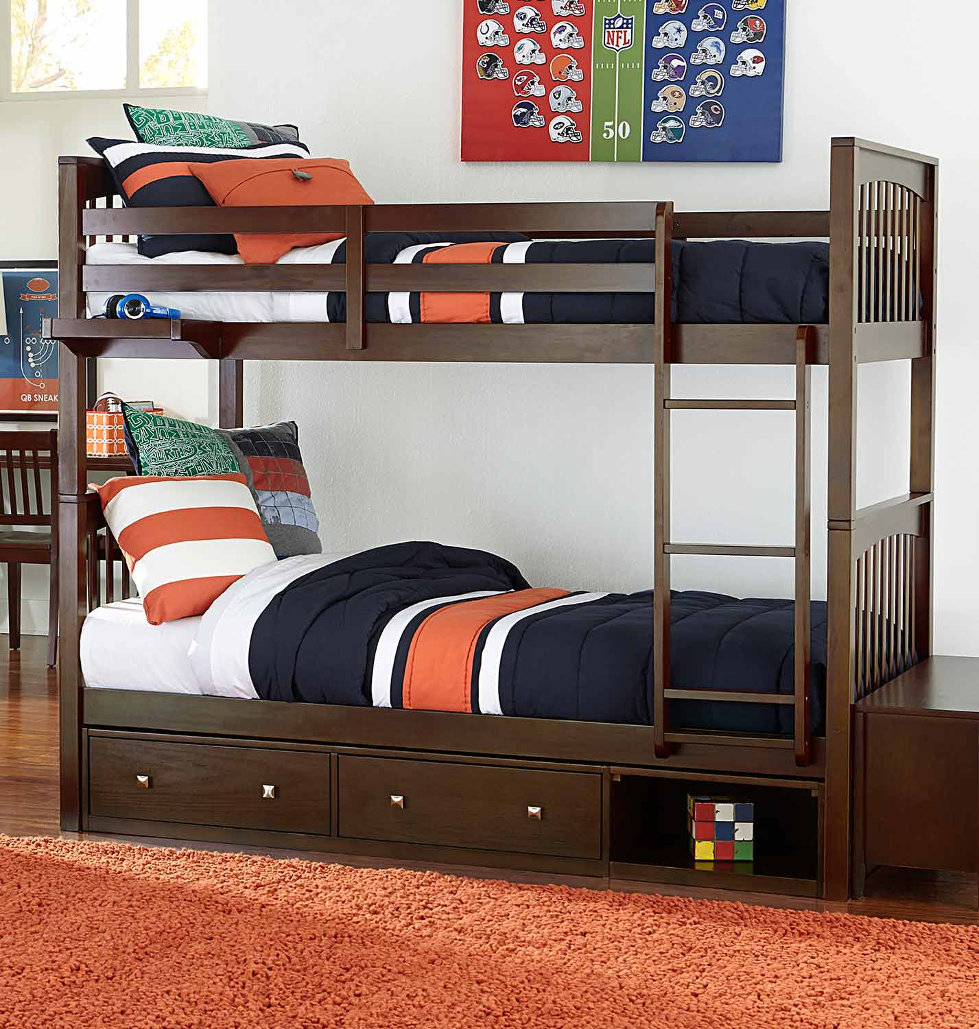 NE Kids Pulse Twin Over Twin Bunk With Storage - Chocolate