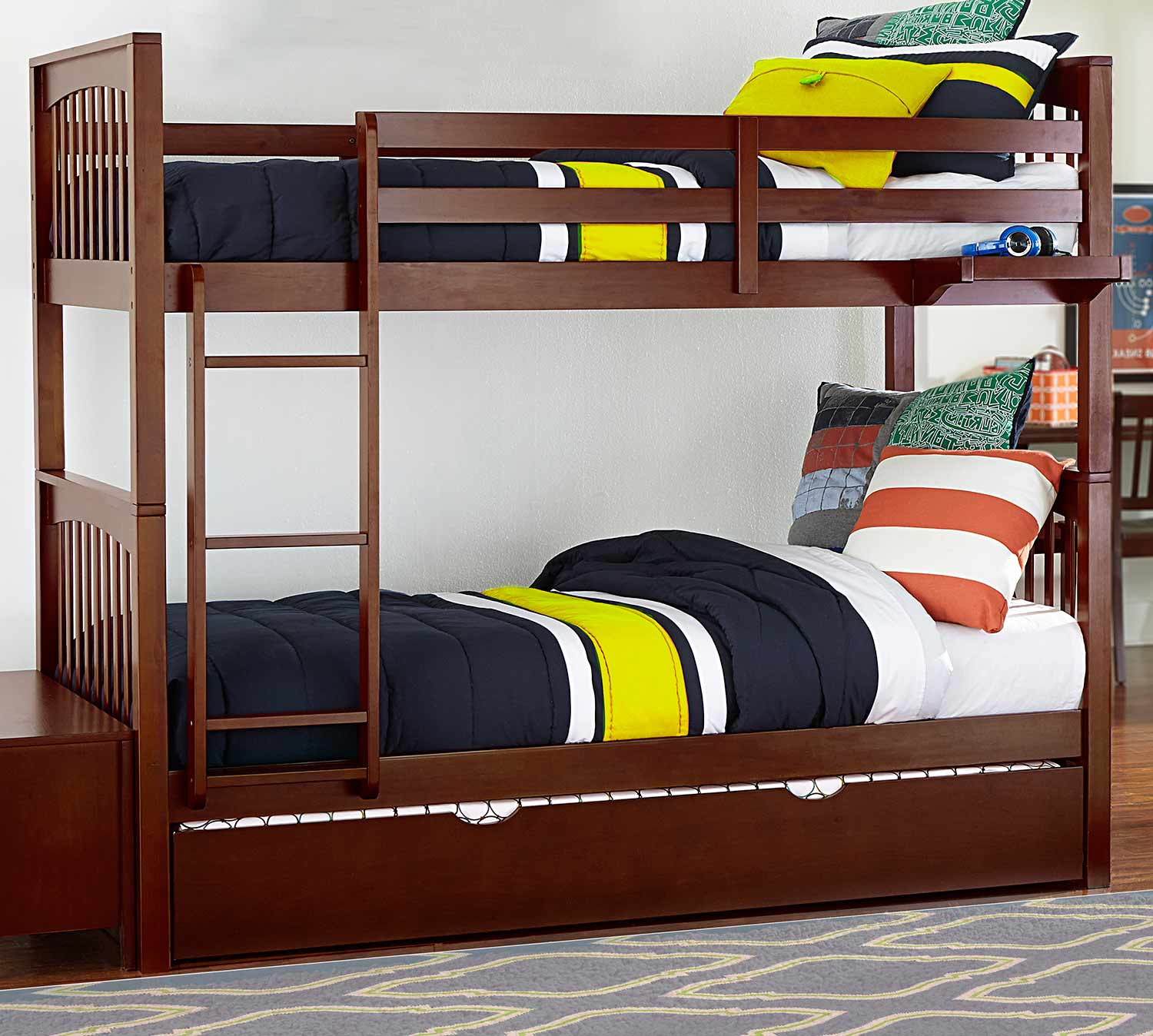 NE Kids Pulse Twin Over Twin Bunk With Trundle - Chocolate