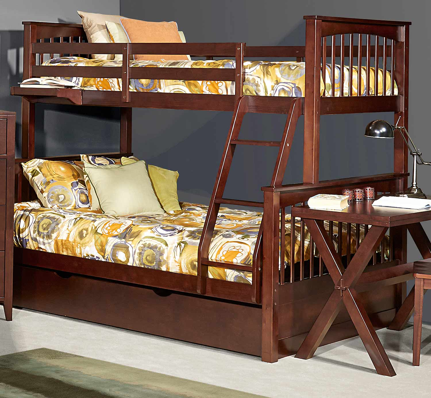 NE Kids Pulse Twin Over Full Bunk With Trundle - Chocolate