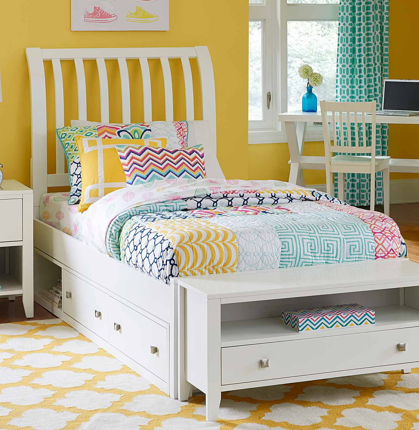 NE Kids Pulse Rake Sleigh Bed With Storage - White