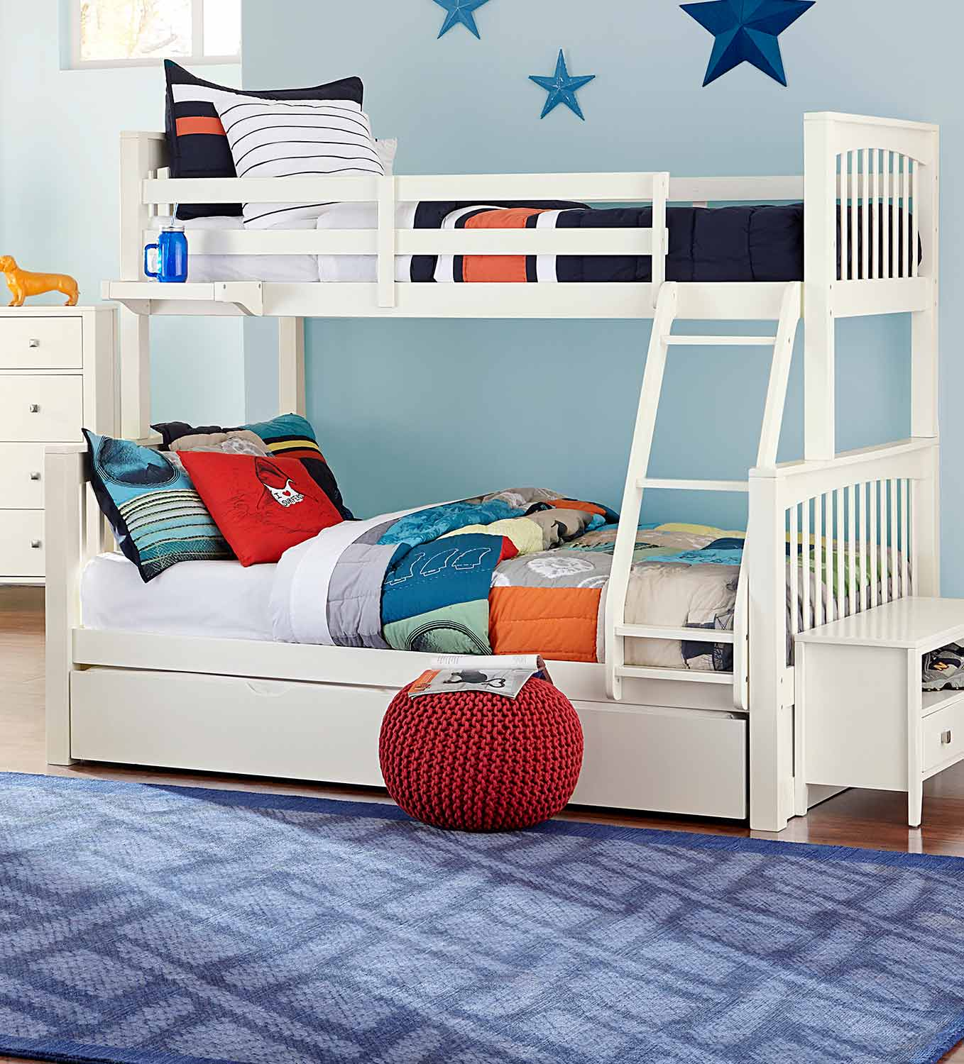NE Kids Pulse Twin Over Full Bunk With Trundle - White