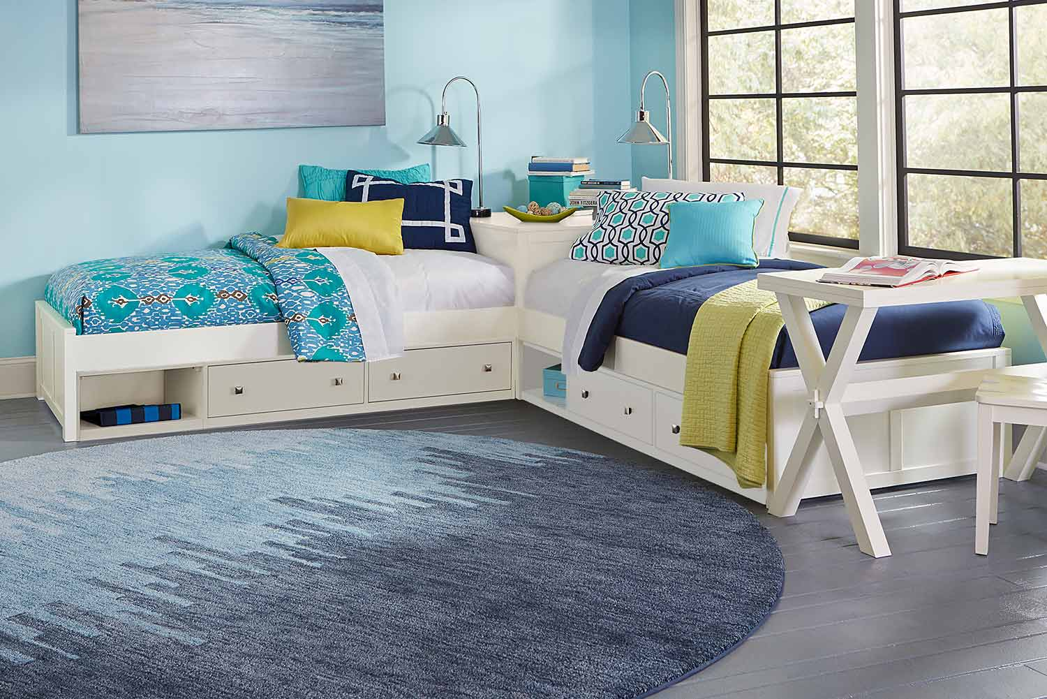 NE Kids Pulse L-Shaped Bed With Double Storage - White
