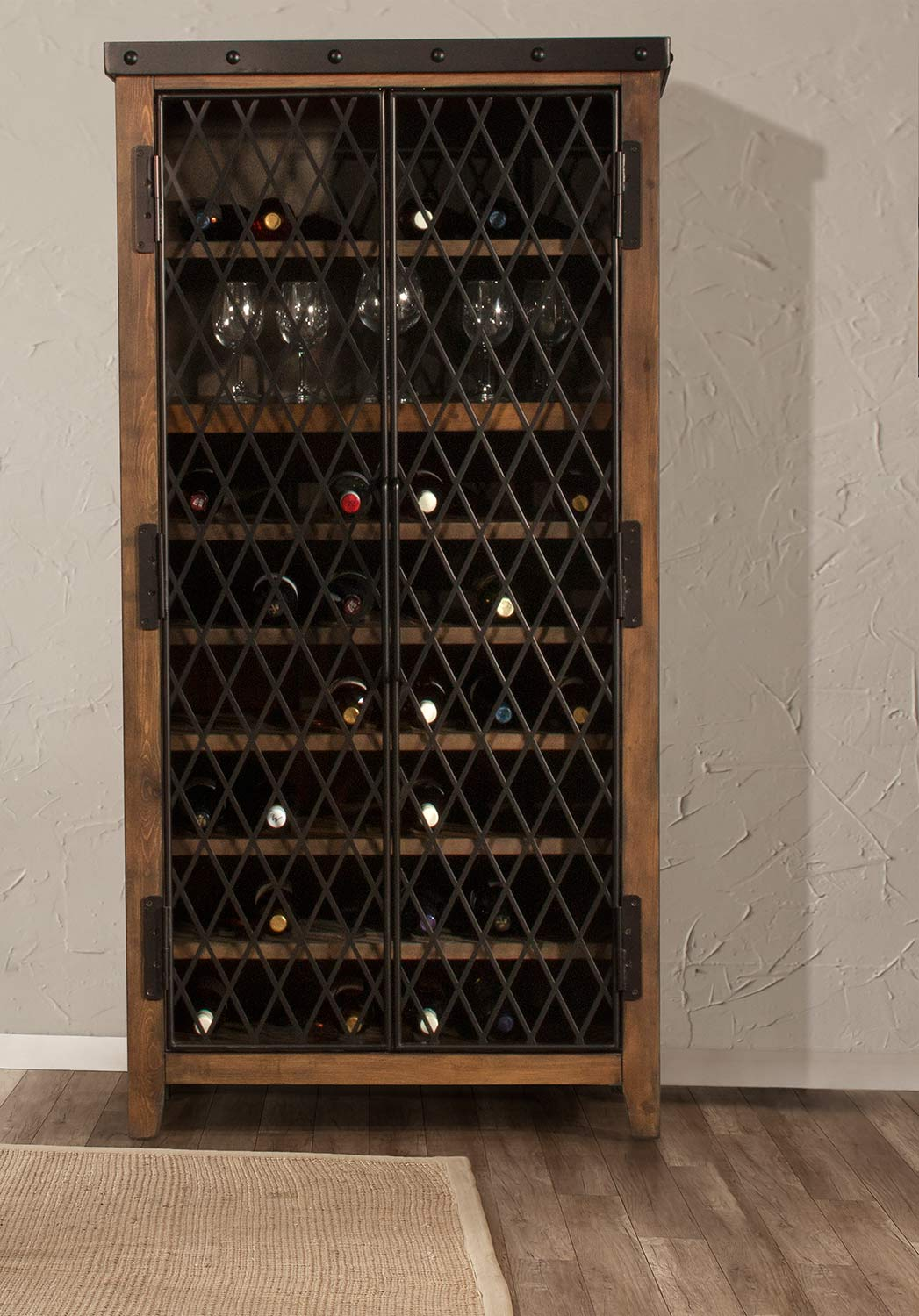 Hillsdale Jennings Tall Wine Cabinet - Walnut Wood/Brown Metal