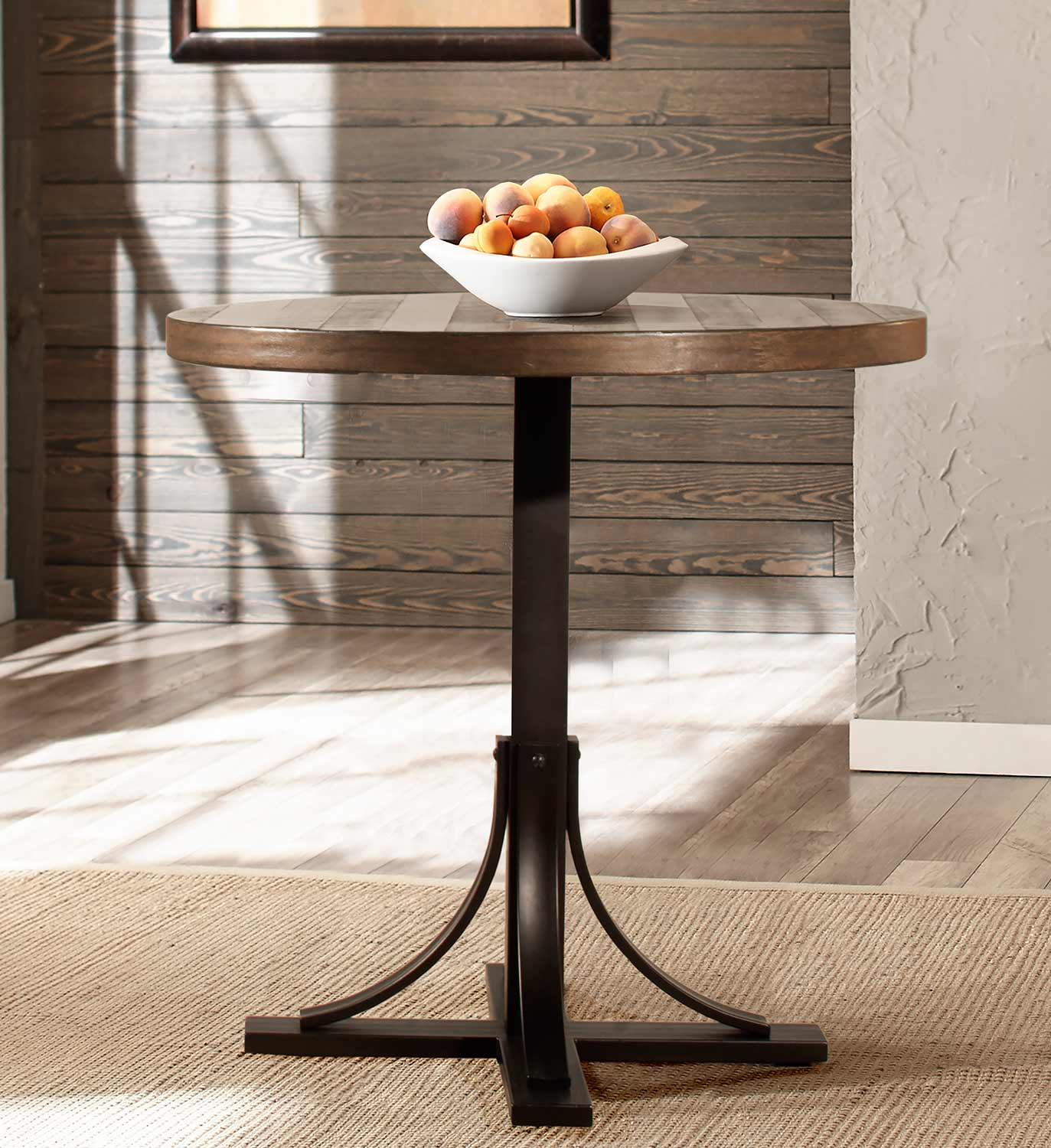 Hillsdale Jennings Round Counter Height Dining Table - Walnut Wood/Brown Metal