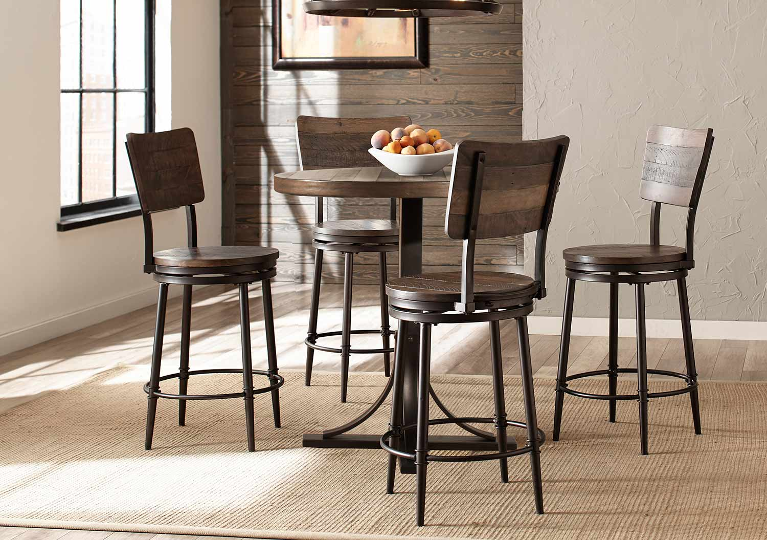 Hillsdale Jennings 5 Piece Counter Height Dining Set With Swivel Counter Height Stools Walnut Wood Brown Metal 4022cdps5pc Din Set Hillsdalefurnituremart Com