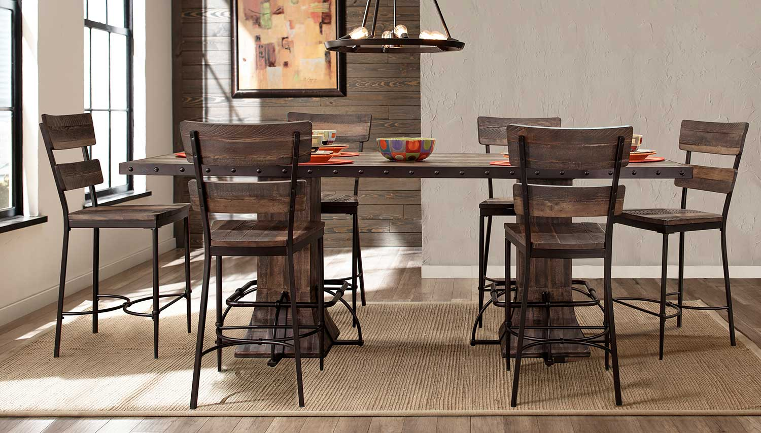 Hillsdale Jennings 7-PC Rectangle Counter Height Dining Set - Walnut Wood/Brown Metal