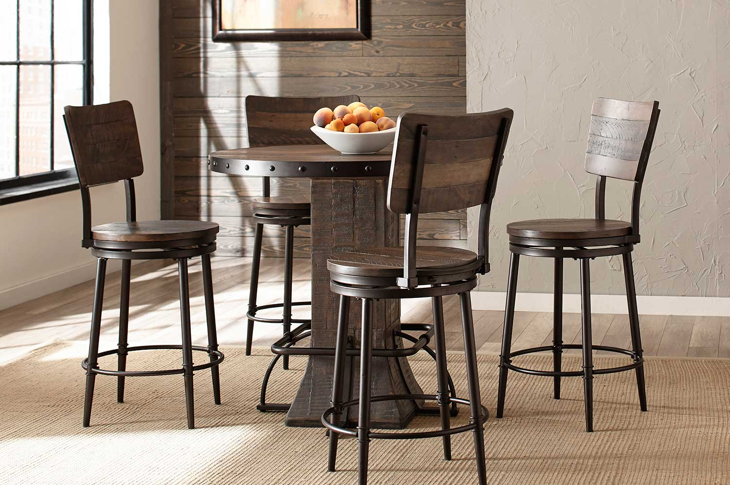 Hillsdale Jennings 5-PC Round Counter Height Dining Set - Walnut Wood/Brown Metal