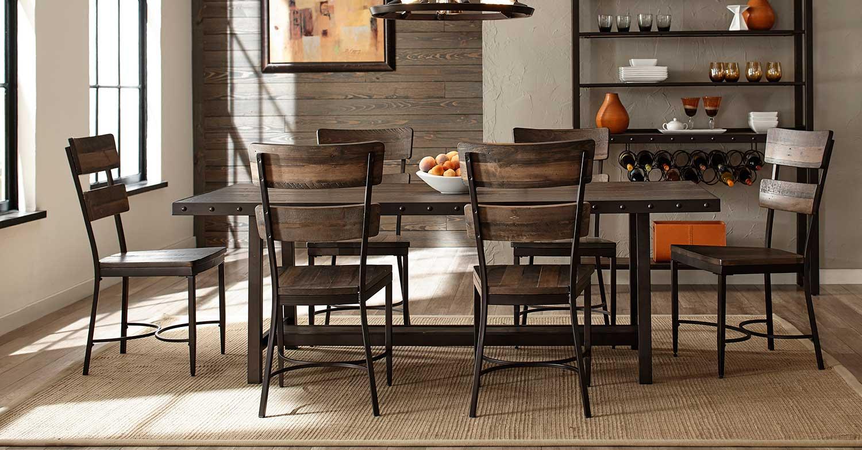 Hillsdale Jennings 7-Piece Dining Set - Walnut Wood/Brown Metal
