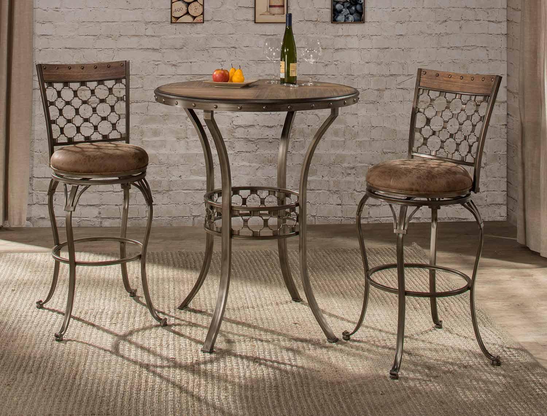 Hillsdale Lannis 3 Piece Bar Height Bistro Dining Set   Brown/Grey